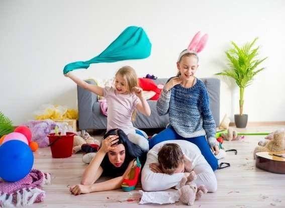 stressed parents with messy home