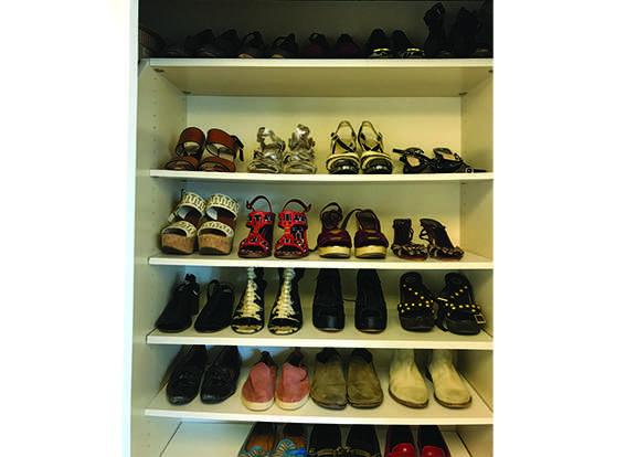 organized shoe closet