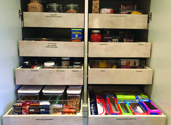 organized and labeled pantry shelves